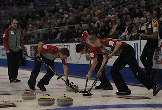 Edmonton Ab.Mar2,2013.Tim Hortons Brier.N.W.T./Yukon.Skip Jamie Koe,third Tom Naugler,second Brad Chorostkowski,lead Robert Borden.CCA/michael burns photo | by seasonofchampions