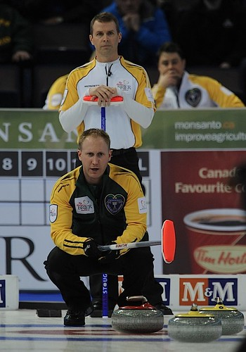 Edmonton Ab.Mar10,2013.Tim Hortons Brier.Northern Ontario skip Brad Jacobs,Manitoba skip Jeff Stoughton.CCA/michael burns photo | by seasonofchampions