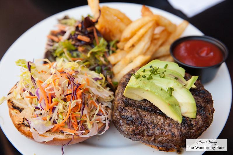 Kobe burger, brioche bun, red cabbage, scallion