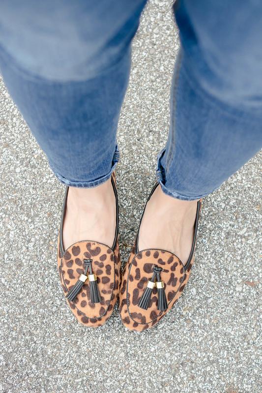 orange blazer + boyfriend jeans + stripe tee + leopard print loafers + tan coach purse; casual fall outfit | Style On Target blog
