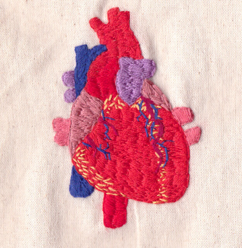 Human Heart Embroidery  Experimenting With More Solid