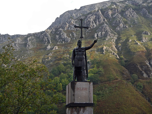 A statue at the Covadonga church and shrine in northern Spain