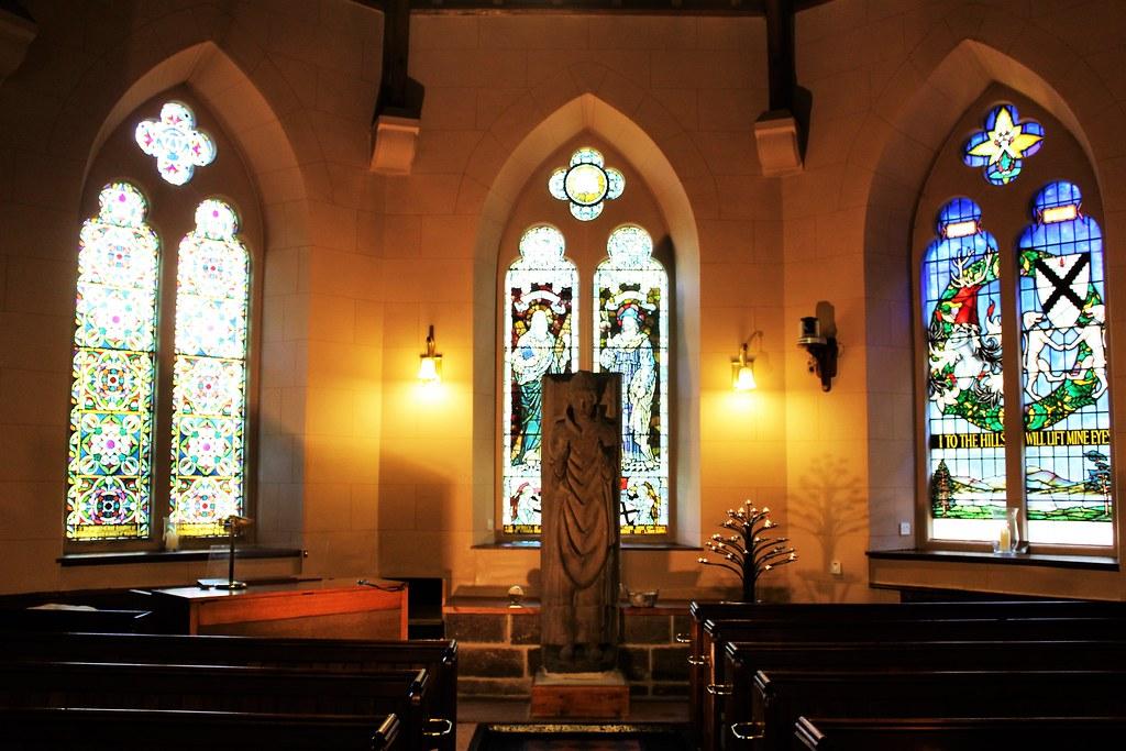 Statue of St Kessog inside Luss Church.