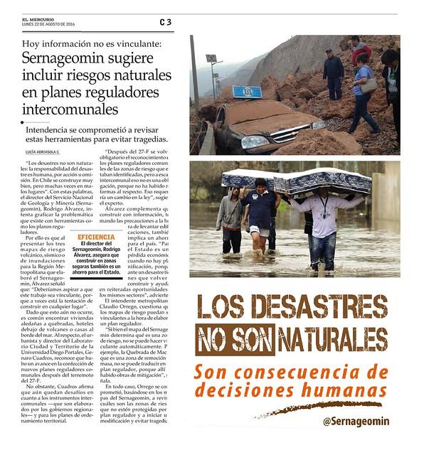 Sernageomin propone incluir peligros geológicos en planes reguladores intercomunales (El Mercurio, 22 de agosto de 2016)