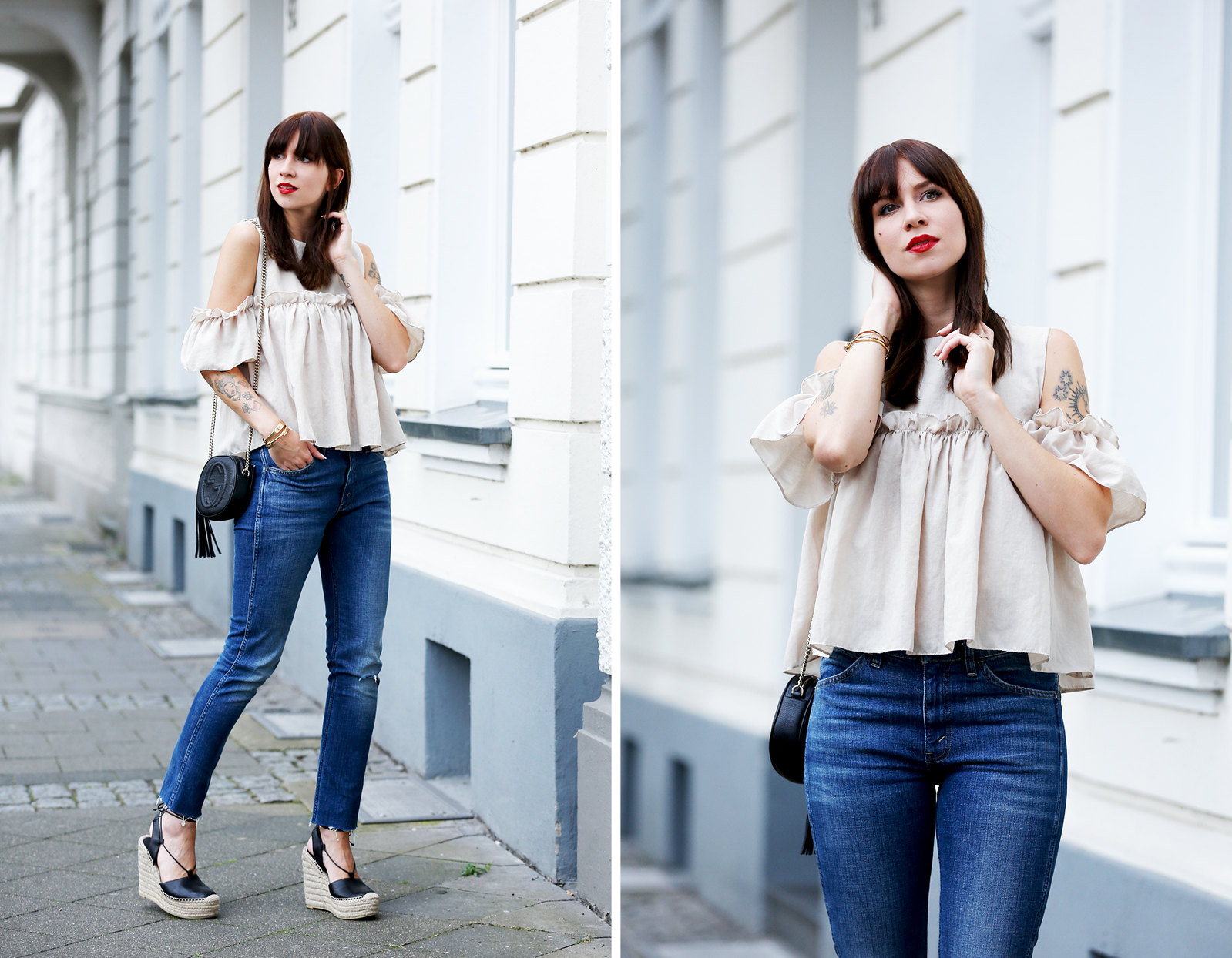 outfit ootd denim levi's storets ruffle blouse gucci soho bag saint laurent espadrilles luxury fashionblogger germany berlin cats & dogs modeblog ricarda schernus 5