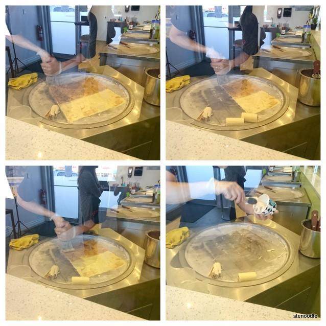 QQ Thai Ice Cream Rolls process