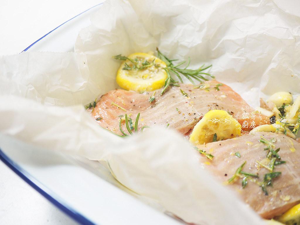 孤身廚房-烤鮭魚排佐香料烤南瓜及蒜香皇宮菜13