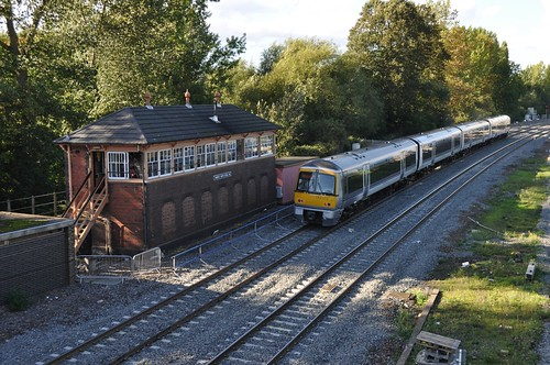 Banbury North Signal box and Chiltern train