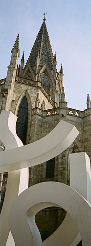 Modern Sculpture in front of old church in Guadalajara, Mexico