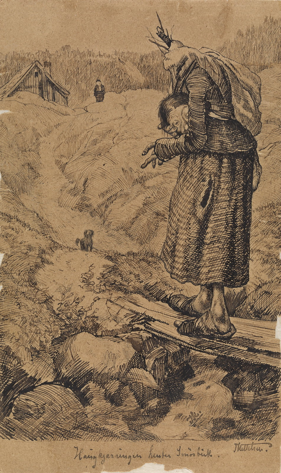 """Theodor Kittelsen - """" It will be a big , long haugkjerring with hodet forearm ... """"Ubenyttet illustrasjon til """" Smørbukk """" , P. Chr. Asbjørnsen , Eventyrbog 's born I Gyldendalske Boghandels publishers, Kjøbenhavn 1883Haugkjærringen Henter Smørbuk"""