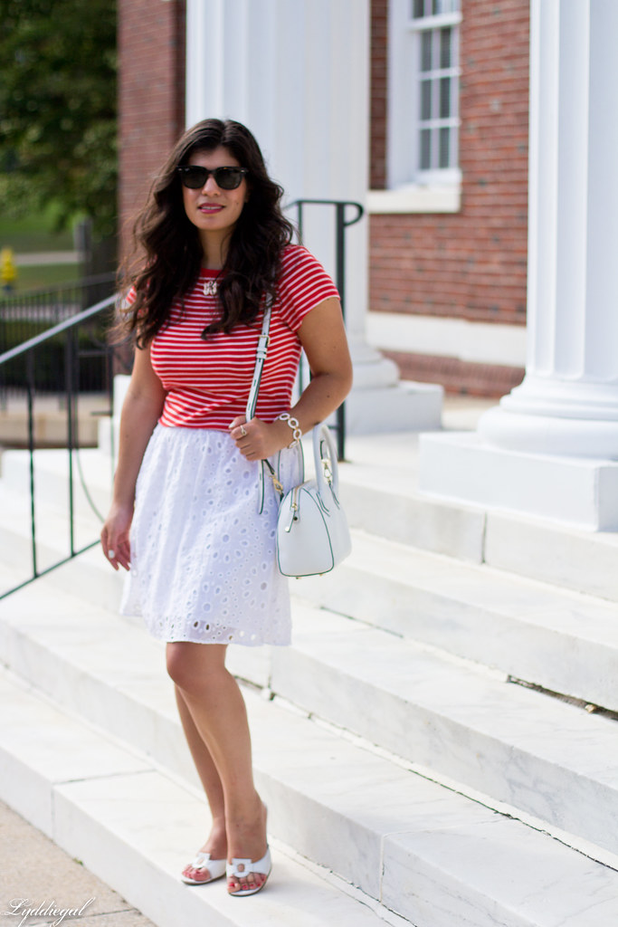striped shirt, white eyelet lace skirt, ferragamo sandals-3.jpg