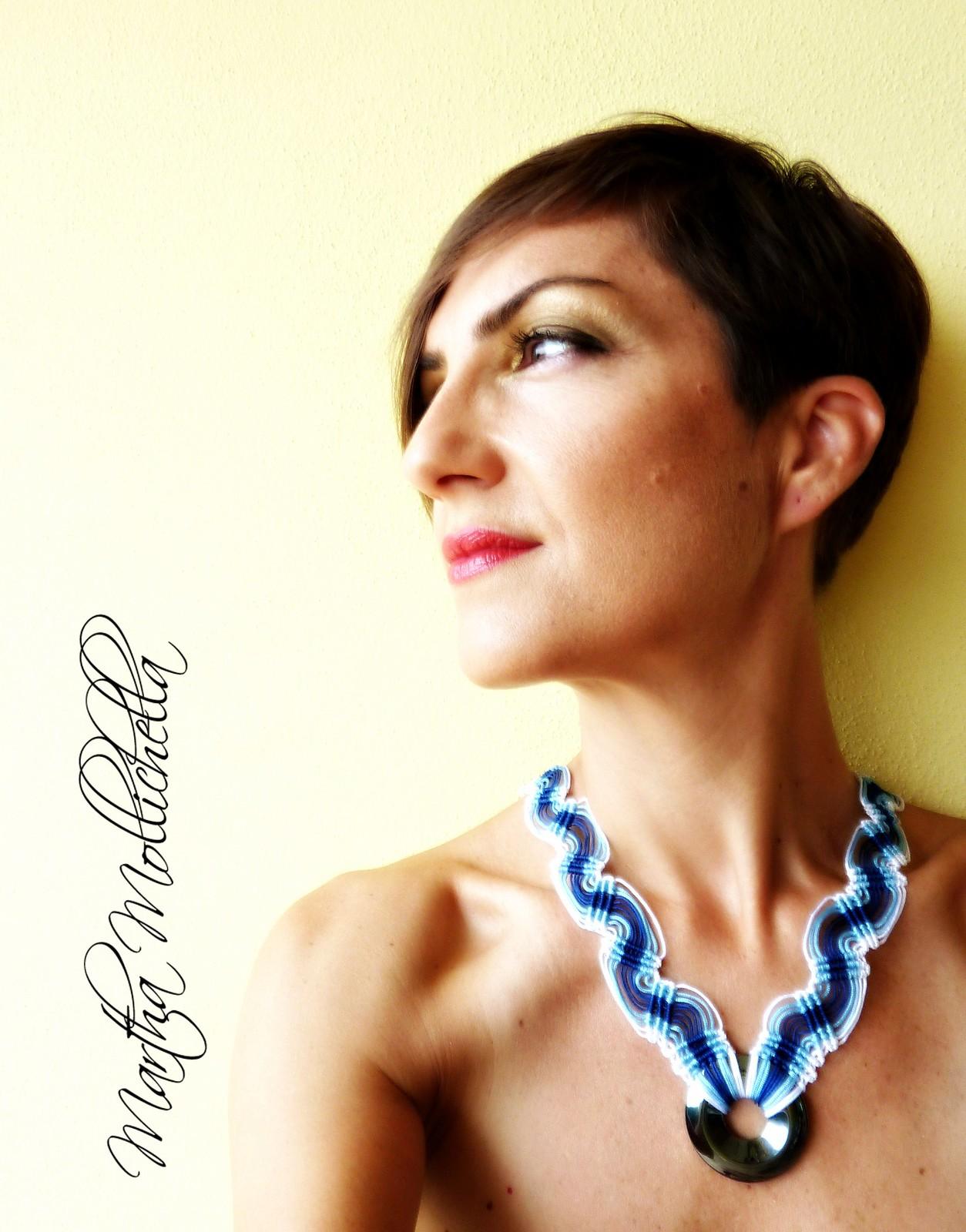 collana macrame handmade con ematite e chiusura in argento Martha Mollichella