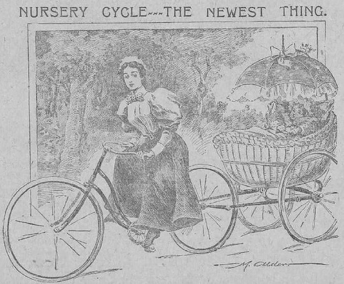 The Journal page on cycling 1896 - detail, bike with trailer for baby