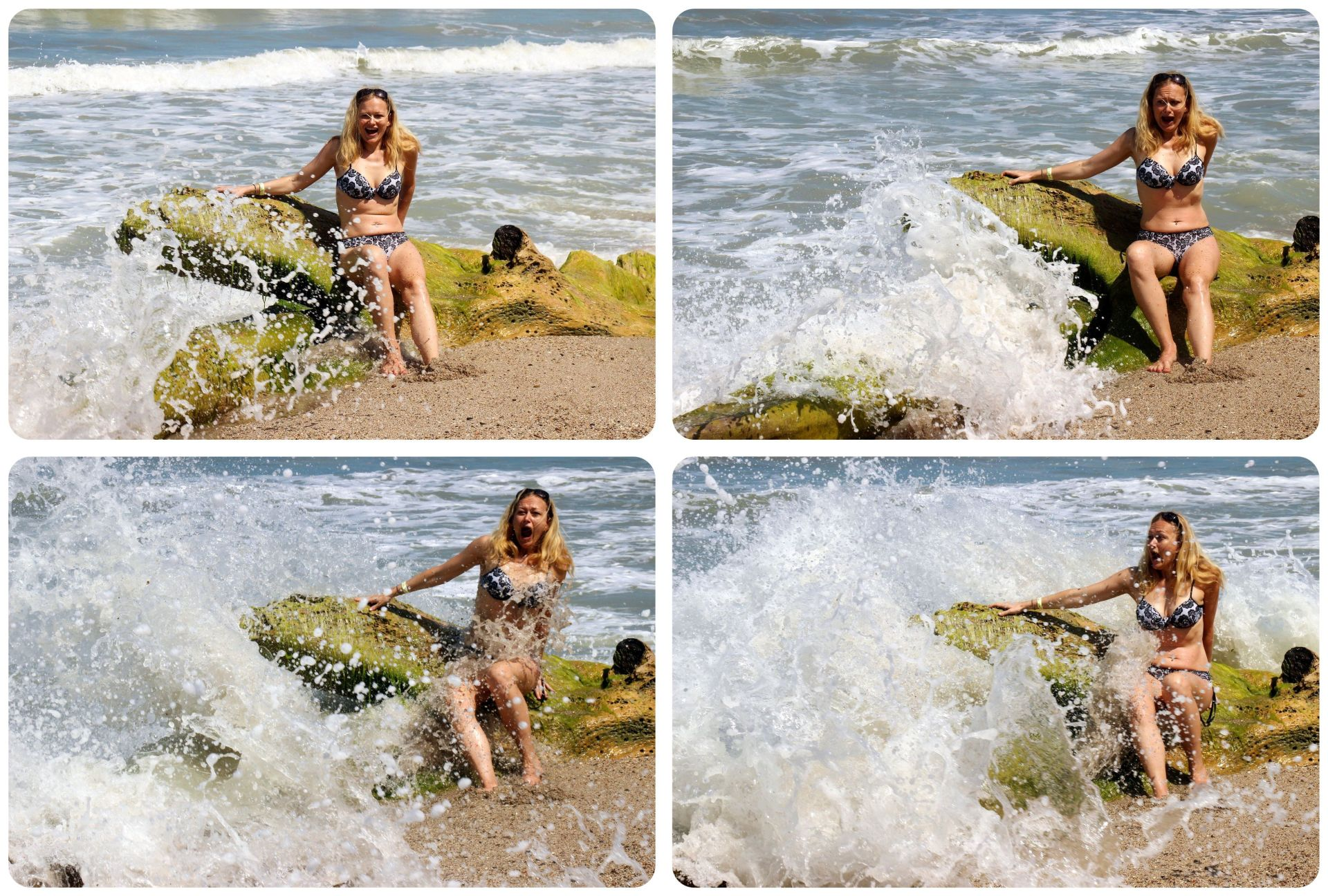 Dani caught by waves