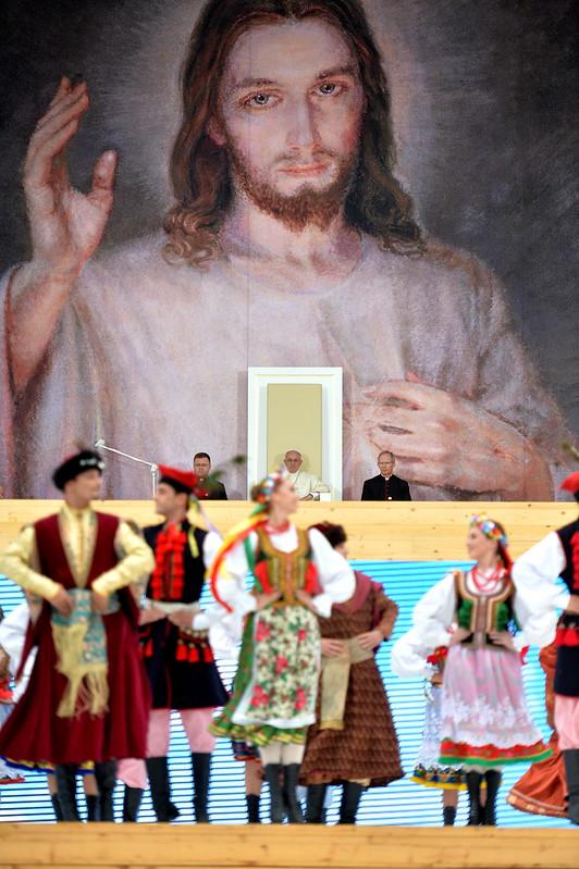 Powitanie papieża przezmłodych, 28 VII 2016