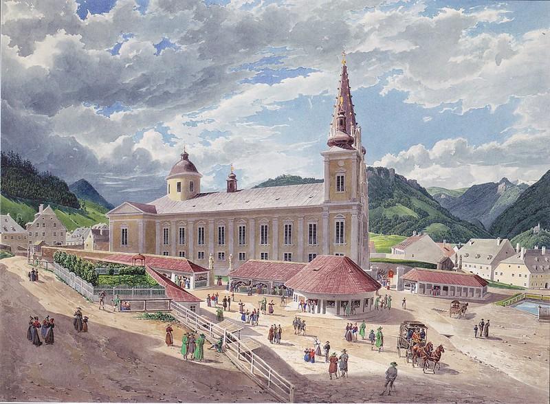 Eduard Gurk - Die Basilika Mariazell vom Kirchplatz aus (c.1833)