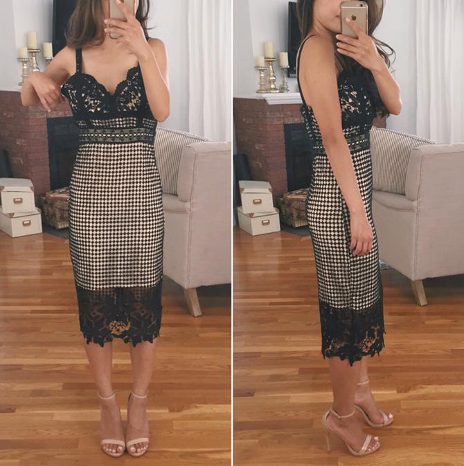 modcloth vino de janeiro crochet lace black dress review