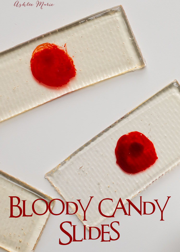 an easy recipe for making your own suckers that can easily be turned into these candy bloody slides - perfect for a creepy halloween treat