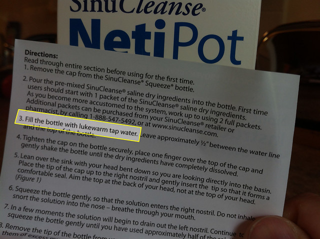 Is it OK to use tap water with a neti pot?