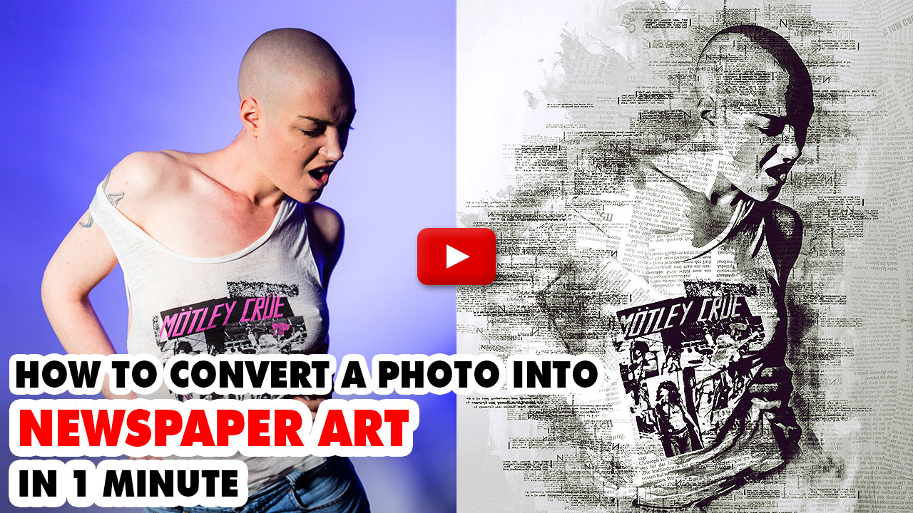 Newspaper Art Photoshop Action ( With Painting Effect )