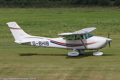 G-BHIB - 1980 Reims built Cessna F182Q Skylane, arriving on Runway 08R at Barton