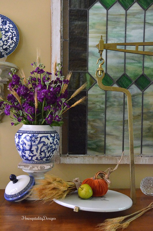 Fall Foyer - Fall Flowers - Antique French Buffet - Antique Scale - Housepitality Designs