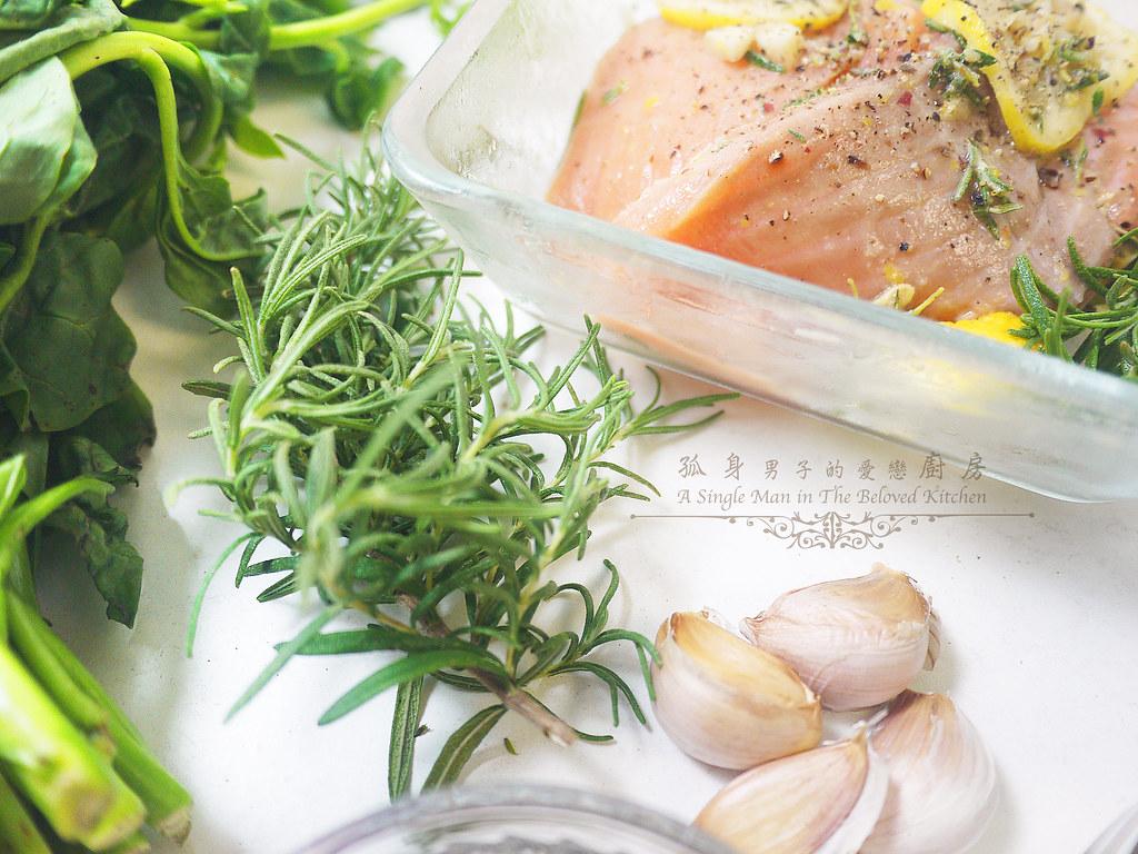 孤身廚房-烤鮭魚排佐香料烤南瓜及蒜香皇宮菜6