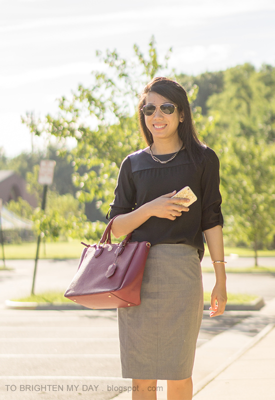 black faux leather yoke top, woven chain necklace, gray pencil skirt, purple red tote