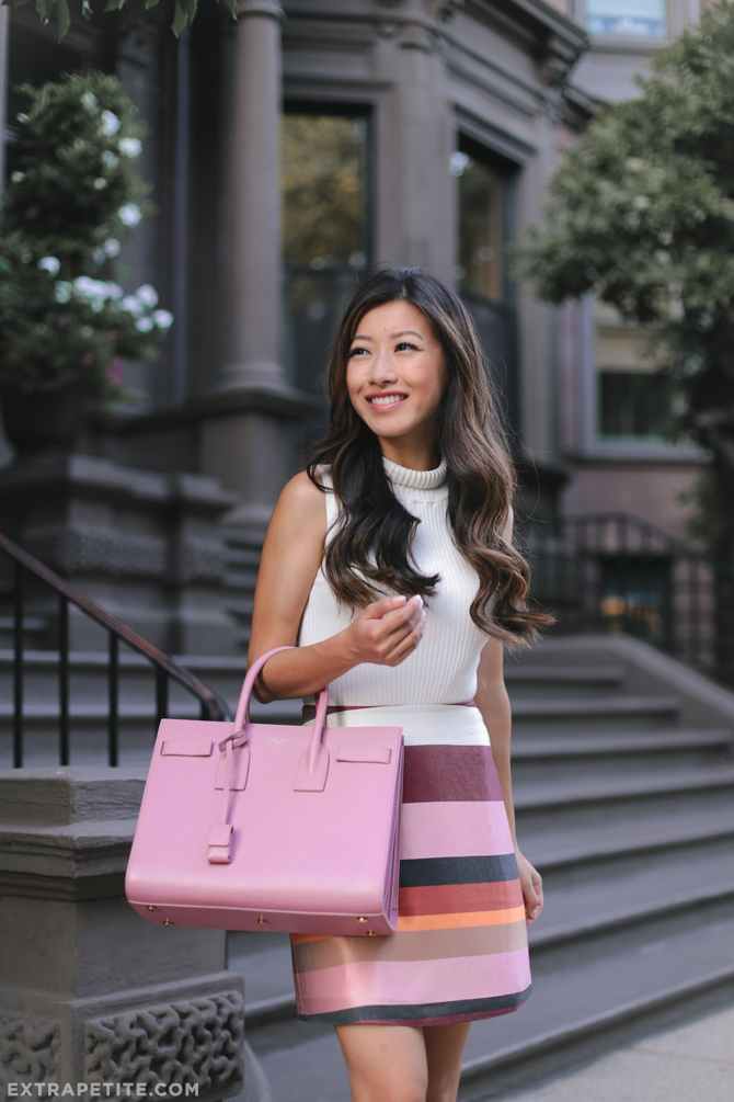late summer office outfit white sweater pink stripe skirt YSL bag