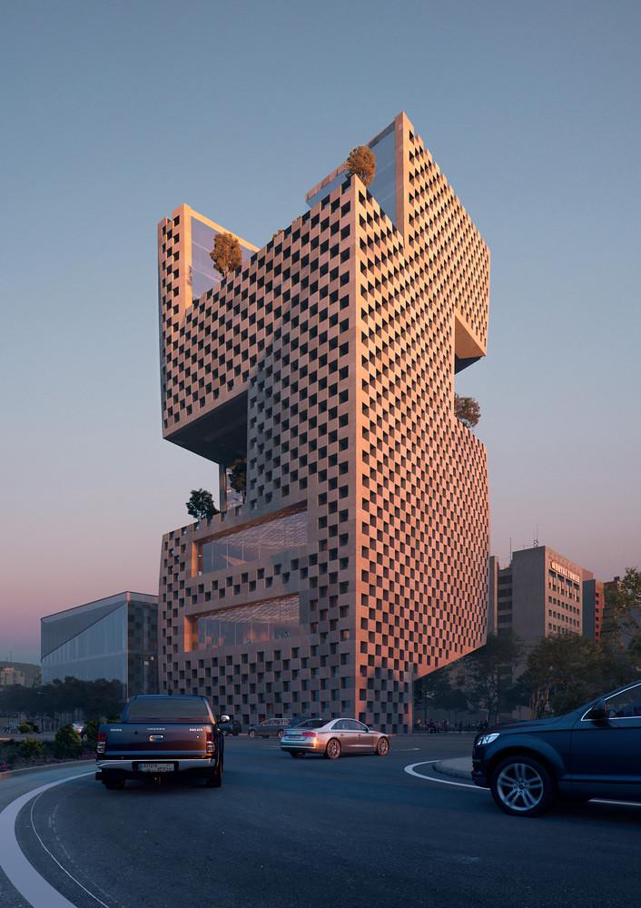 Геометрическая башня банка BLF в Бейруте. Проект Snøhetta