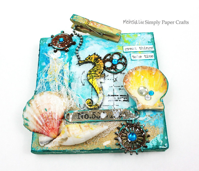 Meihsia Liu Simply Paper Crafts mixed media canvas sea Tim Holtz Simon Says Stamp