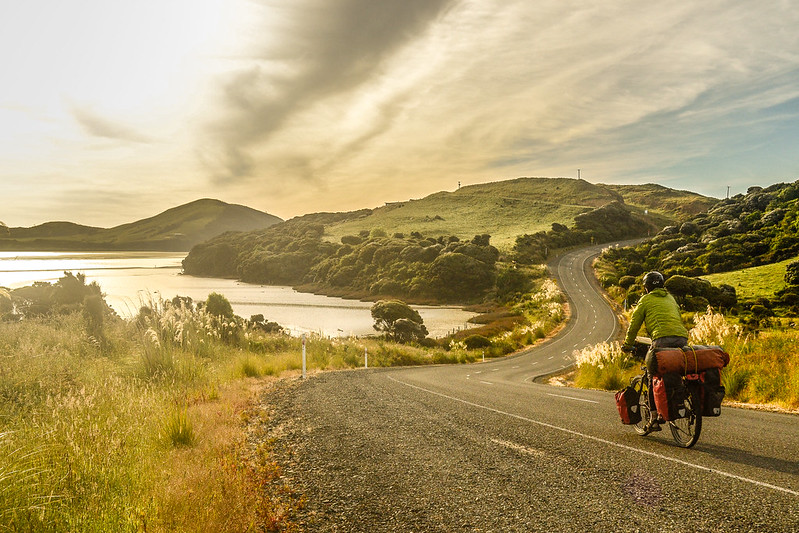 Cycling near Curio bay, New Zealand