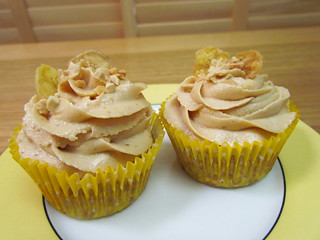 Peanut Butter and Banana Cupcakes with Peanut Buttercream