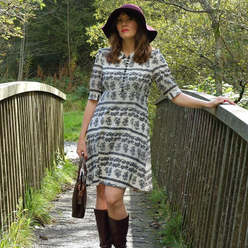 70s hat and Pearl Lowe tea dress