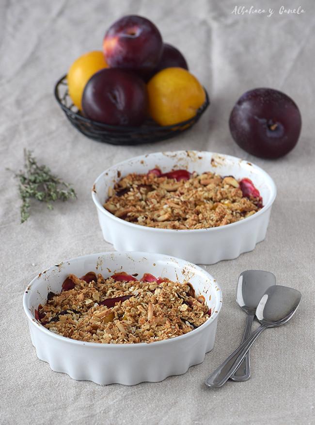 Healthy plum crumble