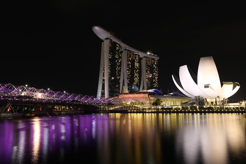 Marina Bay Sands Hotel at night.