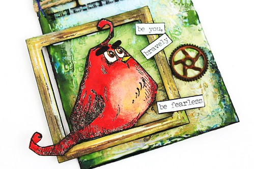 Meihsia Liu Simply Paper Crafts Mixed Media Tag Angry Bird Moive Inspiration Simon Says Stamp Monday Challenge Tim Holtz 4