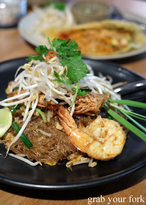 Pad Thai goong woon sen glass noodles with king prawns at Chat Thai at Gateway Sydney in Circular Quay