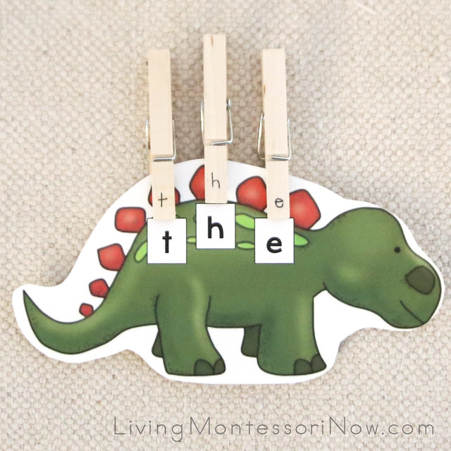 Dinosaur Sight Words (Puzzle Words) with Letter Clothespins
