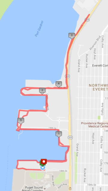 Today's awesome walk, 5.95 miles in 1:55, 12,775 steps