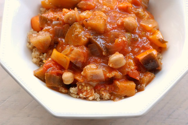 Summer stew with eggplant, peppers, tomatoes and chickpeas by Eve Fox ...