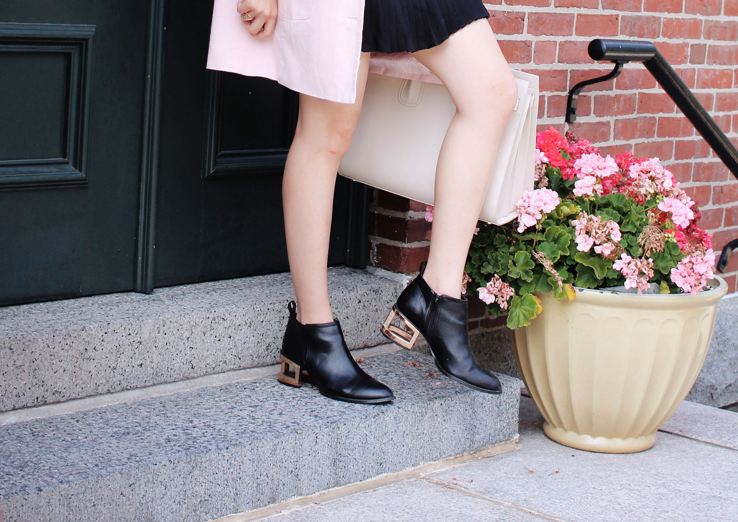 Gold block heel booties