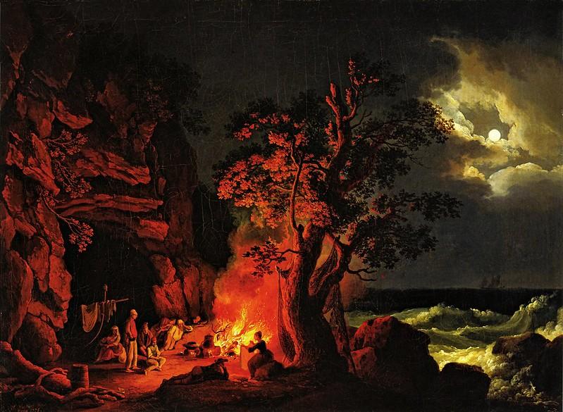 Jacob Philipp Hackert - Fischerfamilie am nächtlichen Lagerfeuer mit aufgewühltem Meer (1778)
