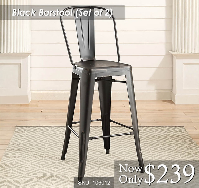 Black Barstool Set of 2
