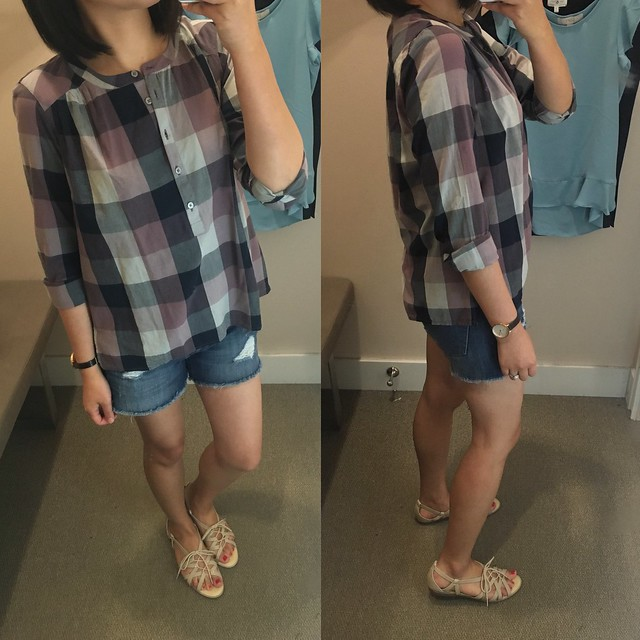 LOFT Plaid Henley Blouse, size XSP