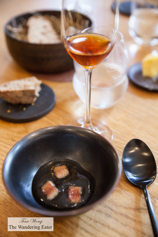 """Smoked eel, black sesame paired with a """"surprise"""" pairing of still hard cider"""