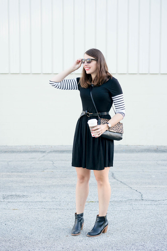 black old navy dress + striped Target tee + black ankle boots + leopard print purse | Style On Target blog