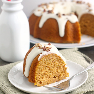 Pumpkin Spice Bundt Cake with Bourbon Cream Cheese Glaze | by Tracey's Culinary Adventures