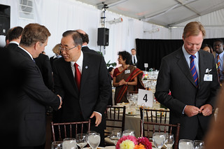UN Secretary-General Ban Ki-moon greets Sauli Niinistö, President of Finland, at the High-level Lunch Event on Strengthening Women's Access to Justice | by UN Women Gallery