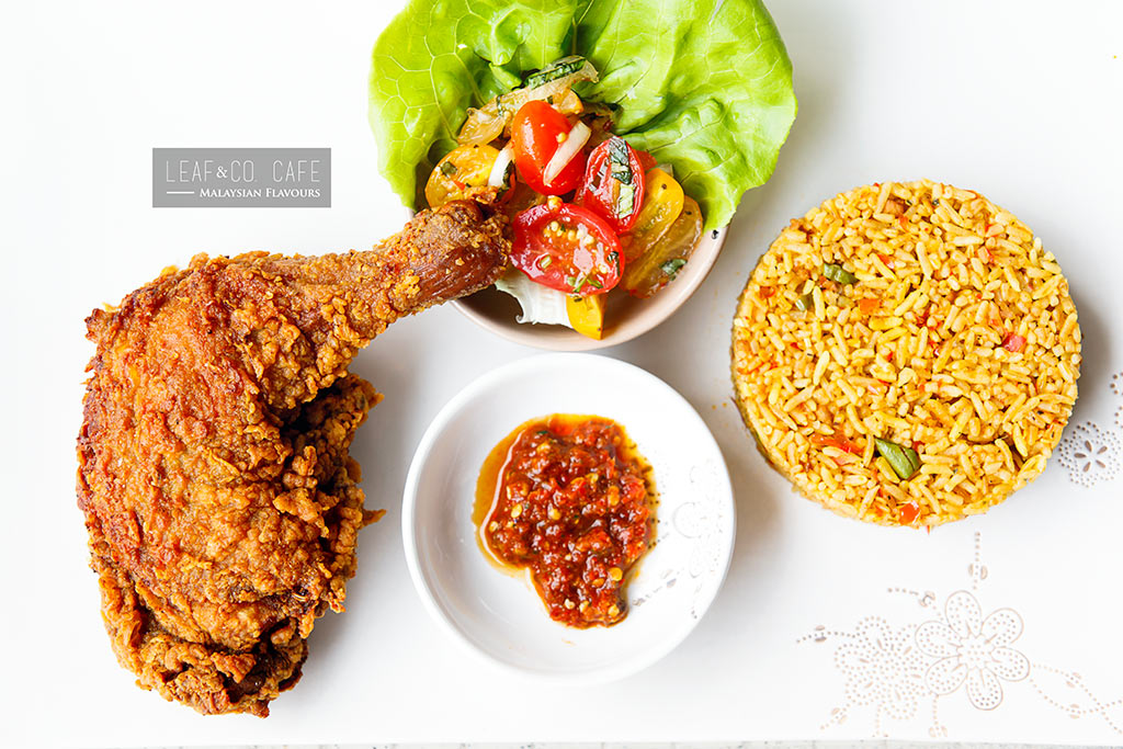 buttermilk fried chicken with rice leaf n co